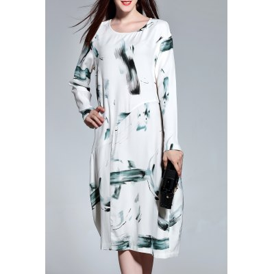 Long Sleeve Wash Painting Print Dress