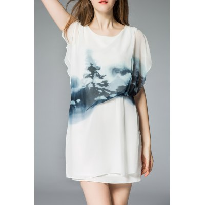 Ruched Wash Painting Print Dress