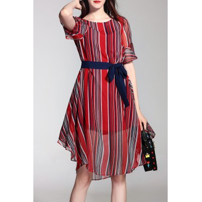 Striped Belted Bell Sleeve Midi Dress