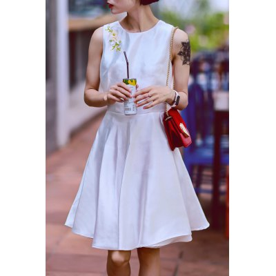 Beaded Solid Color Sleeveless Dress