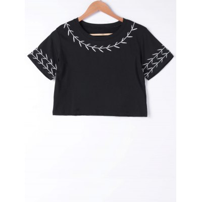 Embroidery Short Sleeves Crop Top For Women