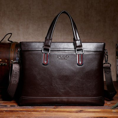 Concise Metal and PU Leather Design Briefcase For Men