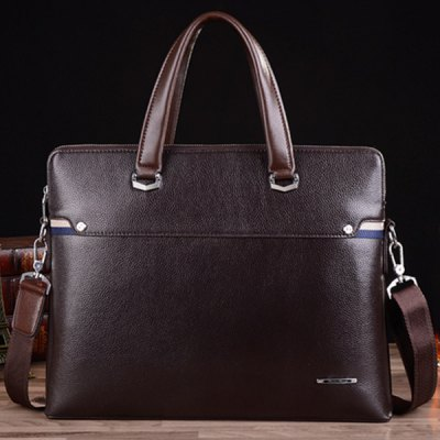 Concise Dark Color and PU Leather Design Briefcase For Men
