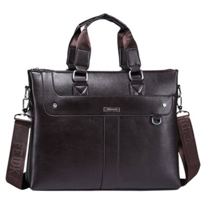 Stylish PU Leather and Dark Color Design Tote Bag For Men