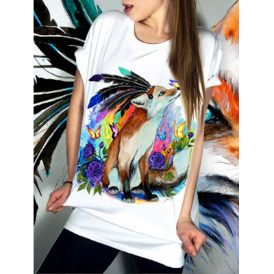 Casual Short Sleeve Round Neck Animal Pattern Women's T-Shirt