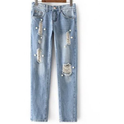 Fashion Mid Waisted Beading Ripped Jeans For Women