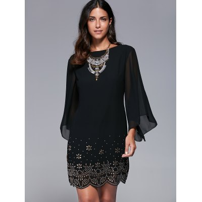 Bell Sleeve Rhinestone Embellished Scalloped Dress