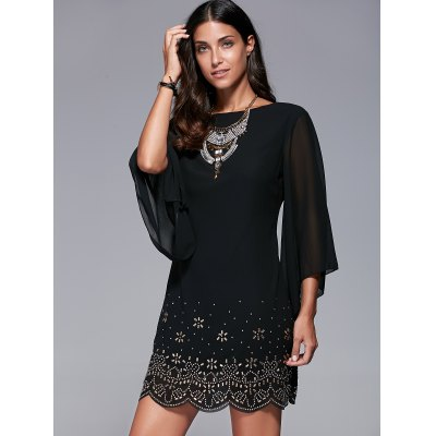 Bell Sleeve Scalloped Long Sleeve Shift DressLong Sleeve Dresses<br>Bell Sleeve Scalloped Long Sleeve Shift Dress<br><br>Dresses Length: Mini<br>Material: Polyester<br>Neckline: Jewel Neck<br>Package Contents: 1 x Dress, 1 x Dress<br>Pattern Type: Insect<br>Season: Summer, Spring, Fall, Fall, Spring, Summer<br>Silhouette: Straight<br>Sleeve Length: 3/4 Length Sleeves<br>Style: Brief<br>Weight: 0.314kg, 0.314kg<br>With Belt: No
