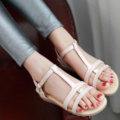 Casual T-Strap and Buckle Design Sandals For Women