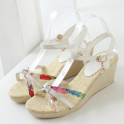 Sweet Print and Wedge Heel Design Sandals For Women