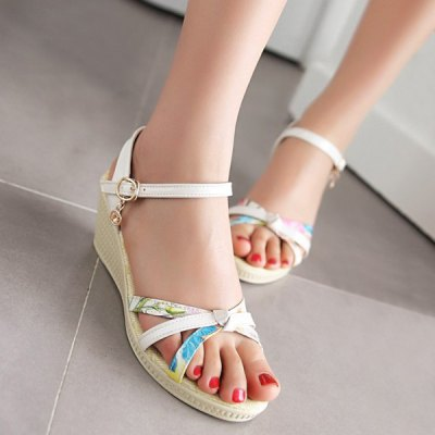Cross Strap Print Buckle Strap Wedge Sandals
