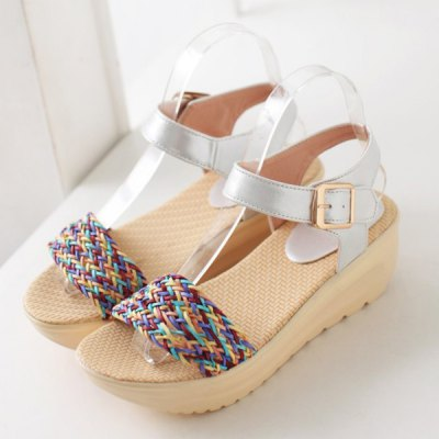 Sweet Color Block and Platform Design Sandals For Women