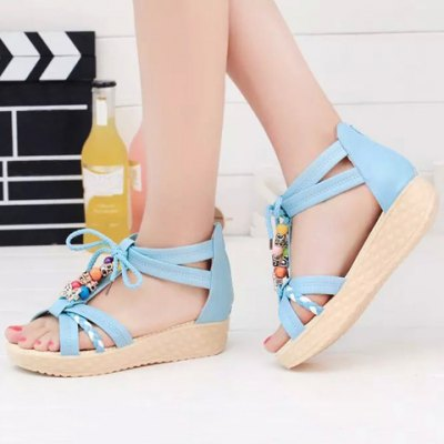 Sweet Beading and Platform Design Sandals For Women