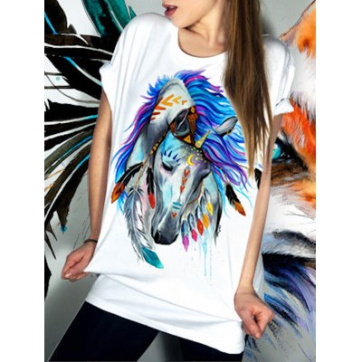 Casual Short Sleeve Round Neck Horse Pattern Women's T-Shirt