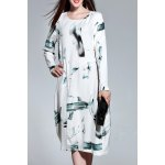 Long Sleeve Loose Wash Painting Dress