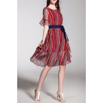 Striped Knee Length Belted Dress for sale