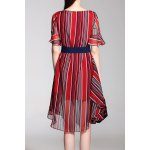 cheap Striped Knee Length Belted Dress