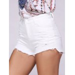 cheap Fashionable Ripped Solid Color Women's Denim Shorts