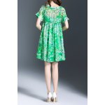 cheap Scoop Neck Floral Pattern Dress