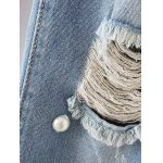 best Fashion Mid Waisted Beading Ripped Jeans For Women