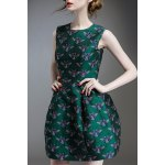 Beetle Embroidered Mini Ball Dress
