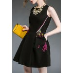 cheap Floral Embroidered Flared Dress