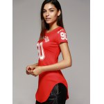 cheap Brief Round Neck Number Letter Curved Hem Women's T-Shirt