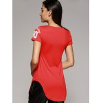 Brief Round Neck Number Letter Curved Hem Women's T-Shirt deal