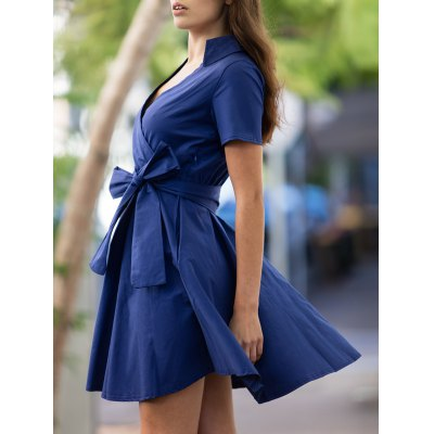 Vintage V-Neck Pure Color Short Sleeve Ball Dress For Women