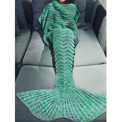 Multicolor Knitted Mermaid Tail Design Blanket