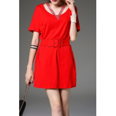 Self-Tied Pure Color Dress