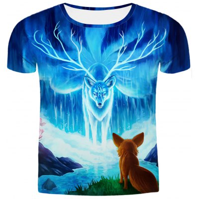 Round Neck Short Sleeves 3D T-Shirt