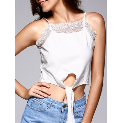 Women's Front Strappy Laciness Splicing Crop Top