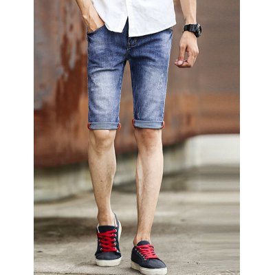 Cat's Whisker Print Solid Color Jeans Shorts For Men