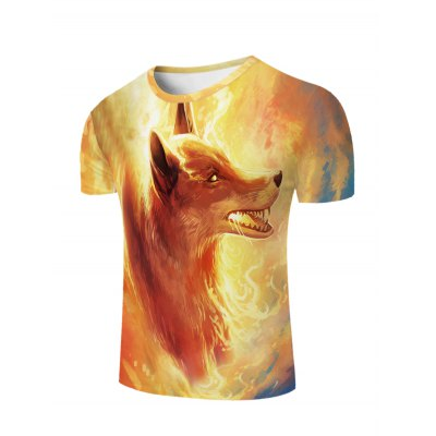 Cool Fire Fox 3D Printed Slimming Round Neck Short Sleeves T-Shirt For Men
