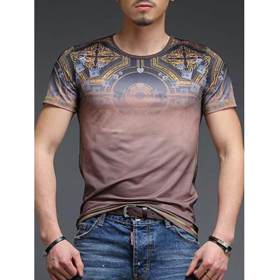Abstract Pattern Slimming Round Neck Short Sleeves T-Shirt For Men