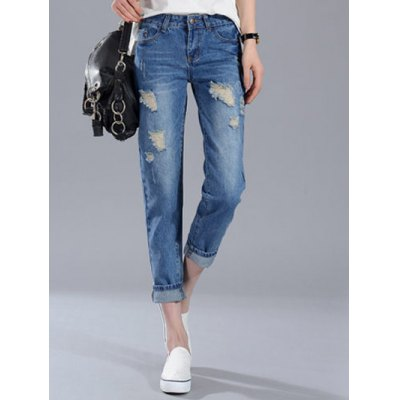 Boyfriend Style Broken Hole Pocket Design Women's Jeans