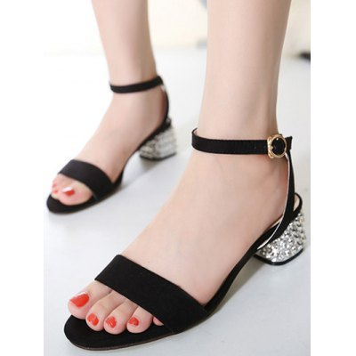 Elegant Rhinestone and Ankle Strap Design Sandals For Women