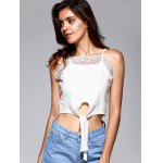 cheap Front Strappy Laciness Splicing Crop Top