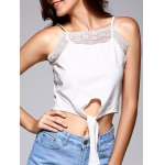 Front Strappy Laciness Splicing Crop Top