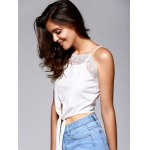 Front Strappy Laciness Splicing Crop Top deal