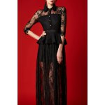 See-Through Lace Maxi Shirt Dress for sale