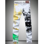 cheap White Color Printed Straight Leg Jeans For Men
