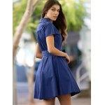 Vintage V-Neck Pure Color Short Sleeve Ball Dress For Women deal