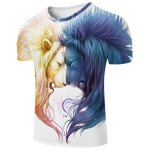 cheap White Round Neck 3D Lion Printing Slimming Short Sleeves T-Shirt For Men