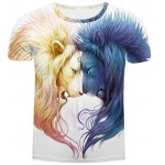 White Round Neck 3D Lion Printing Slimming Short Sleeves T-Shirt For Men