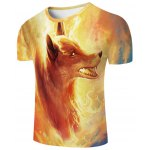 cheap Cool Fire Fox 3D Printed Slimming Round Neck Short Sleeves T-Shirt For Men
