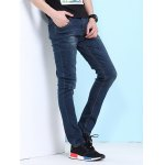 Cat's Whisker Print Zipper Fly Jeans For Men for sale