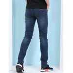 best Cat's Whisker Print Zipper Fly Jeans For Men