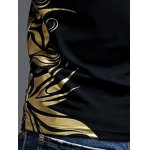 best Slimming V-Neck Golden Totem Pattern Short Sleeves T-Shirt For Men